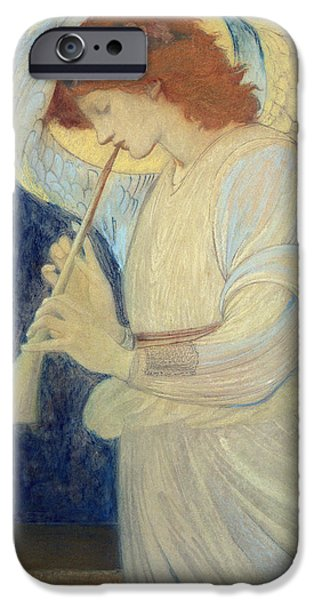 Angel Blues iPhone Cases - An Angel Playing a Flageolet iPhone Case by Sir Edward Coley Burne-Jones