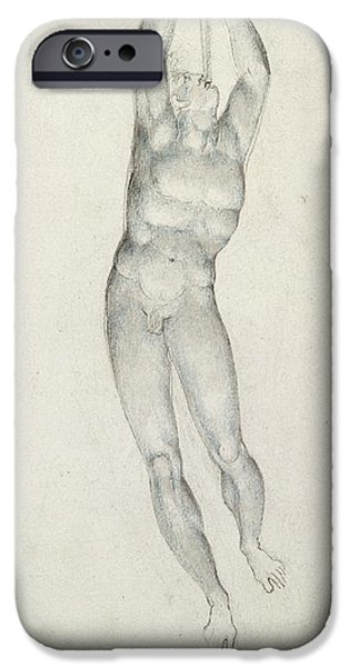 Music Drawings iPhone Cases - An Angel with a Trumpet iPhone Case by William Blake