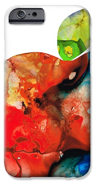 Pears Mixed Media iPhone Cases - An Apple A Day - Colorful Fruit Art By Sharon Cummings  iPhone Case by Sharon Cummings