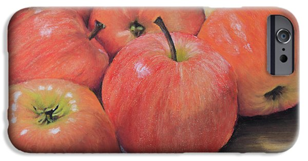 Food And Beverage Pastels iPhone Cases - An Apple a Day iPhone Case by Joanne Grant