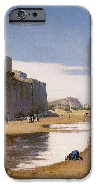 An Arab Caravan outside a Fortified Town iPhone Case by Jean Leon Gerome