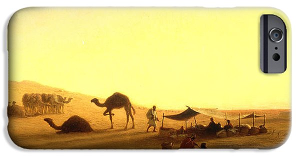 Middle East iPhone Cases - An Arab Encampment  iPhone Case by Charles Theodore Frere