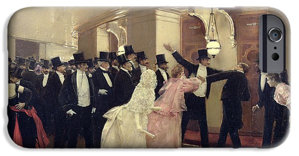 Gas Paintings iPhone Cases - An Argument in the Corridors of the Opera iPhone Case by Jean Beraud