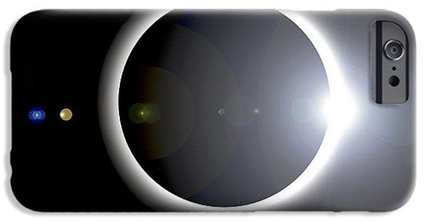 Solar Eclipse Digital iPhone Cases - An Artists Depiction Of A Solar Eclipse iPhone Case by Marc Ward