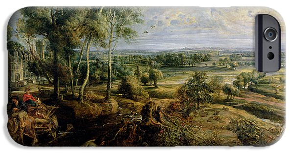 Chateau iPhone Cases - An Autumn Landscape With A View Of Het Steen In The Early Morning, C.1636 Oil On Panel iPhone Case by Peter Paul Rubens