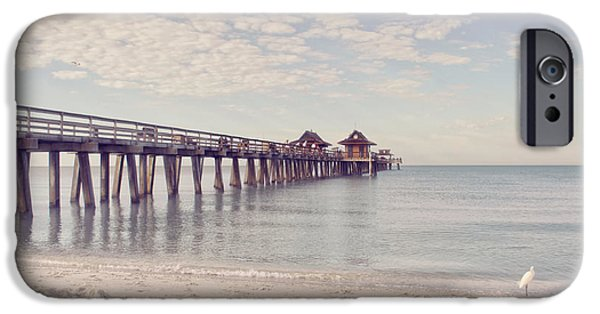 Kim Photographs iPhone Cases - An Early Morning - Naples Pier iPhone Case by Kim Hojnacki