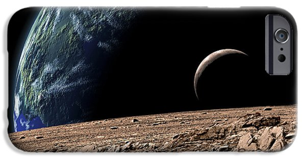 Moonscape iPhone Cases - An Earth-like Planet In Deep Space iPhone Case by Marc Ward