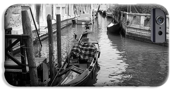 Venetian Canals iPhone Cases - An Empty Gondola bw iPhone Case by Mel Steinhauer