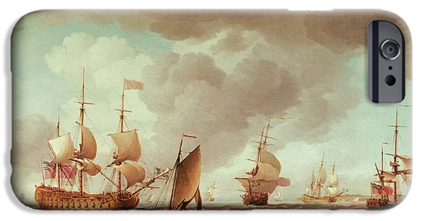 Warship iPhone Cases - An English Vice-admiral Of The Red And His Squadron At Sea, C.1750-59 Oil On Canvas iPhone Case by Charles Brooking