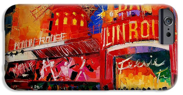 Facade iPhone Cases - An Evening At Moulin Rouge iPhone Case by Mona Edulesco