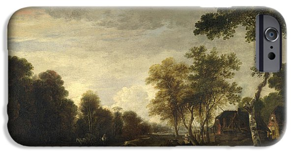 Horse And Cart Paintings iPhone Cases - An Evening Landscape with a Horse and Cart by a Stream iPhone Case by Aert van der Neer