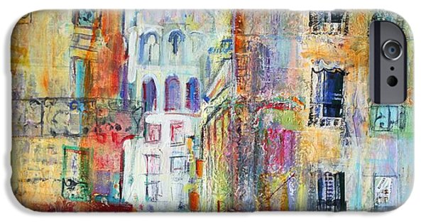 Balcony iPhone Cases - An Evening Walk to Sacre Coeur iPhone Case by Sylvia Paul