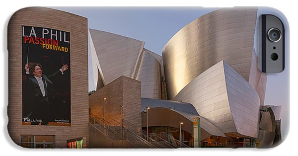 Stainless Steel iPhone Cases - An Evening with Gustavo - Walt Disney Concert Hall Architecture Los Angeles iPhone Case by Ram Vasudev