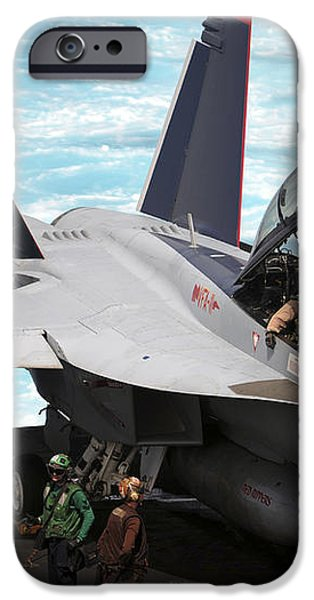 An Fa-18f Super Hornet Sits iPhone Case by Stocktrek Images