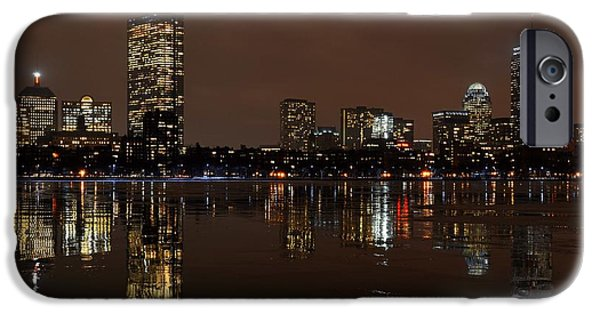 Charles Bridge Digital iPhone Cases - An icy night on the Charles River iPhone Case by Toby McGuire