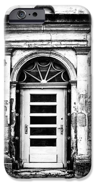 French Doors iPhone Cases - An Intriguing Door in Black and White iPhone Case by Nomad Art And  Design