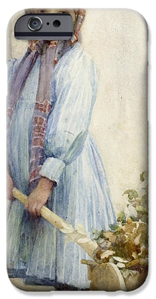Little Girl iPhone Cases - An Italian Peasant Girl iPhone Case by Ada M Shrimpton