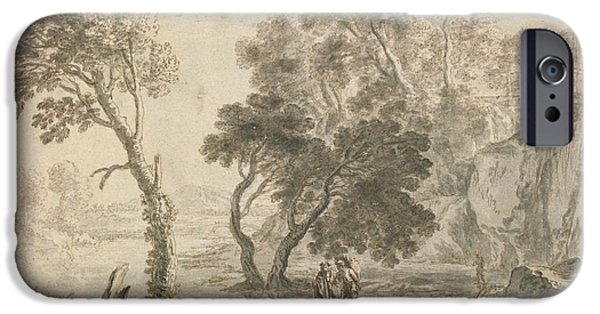 Landscape With Figure iPhone Cases - An Italianate Landscape iPhone Case by Herman Van Swanevelt