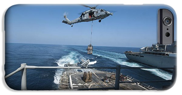 At Arrivals iPhone Cases - An Mh-60s Sea Hawk Brings Pallets iPhone Case by Stocktrek Images