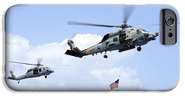 Recently Sold -  - Power iPhone Cases - An Mh-60s Sea Hawk Helicopter Follows iPhone Case by Stocktrek Images