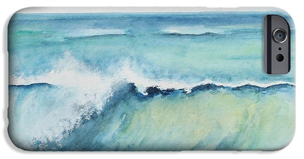 Flying Seagull Paintings iPhone Cases - An Oceans Wave iPhone Case by Wendy Ray