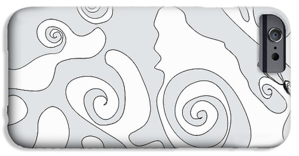 Printmaking iPhone Cases - An Octopus Practicing Zen. iPhone Case by Cathy Peterson