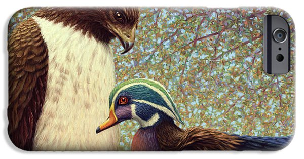 Falcon iPhone Cases - An Odd Couple iPhone Case by James W Johnson