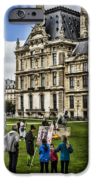 Painter Photographs iPhone Cases - An oil painter in a park in Paris iPhone Case by Sven Brogren