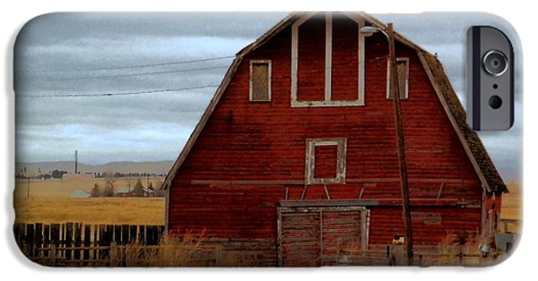 Old Barns iPhone Cases - An Old Barn In Watford City North Dakota iPhone Case by Jeff  Swan
