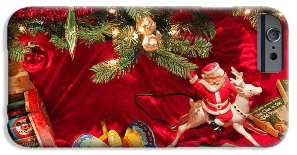 Police Christmas Card iPhone Cases - An Old Fashioned Christmas - Santa Claus iPhone Case by Suzanne Gaff