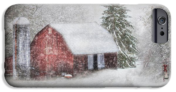 Wintry Digital iPhone Cases - An Old Fashioned Merry Christmas iPhone Case by Lori Deiter