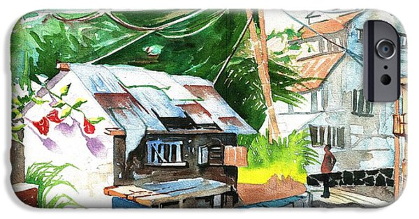 Electrical Paintings iPhone Cases - An old house in tropics iPhone Case by Makarand Joshi