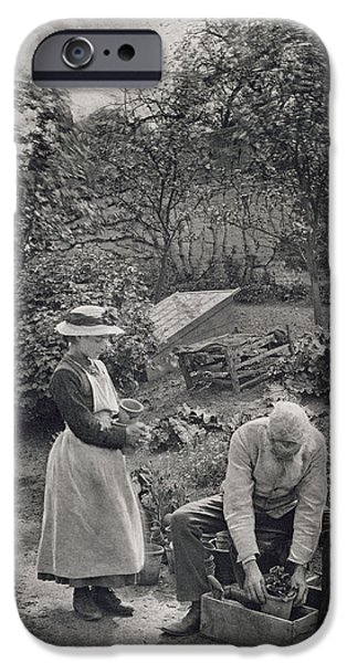 Garden iPhone Cases - An Old Man and his Daughter Gardening iPhone Case by Peter Henry Emerson