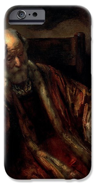 Thinking iPhone Cases - An Old Man In An Armchair Oil On Canvas iPhone Case by Rembrandt Harmensz. van Rijn