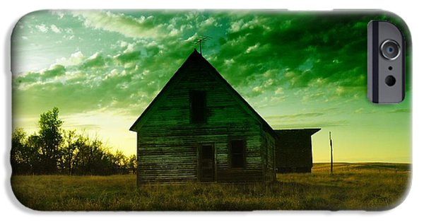 Old Barn iPhone Cases - An Old North Dakota Farm House iPhone Case by Jeff  Swan