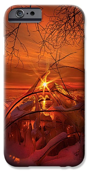 Frozen Lake iPhone Cases - An Old Peaceful Tale iPhone Case by Phil Koch