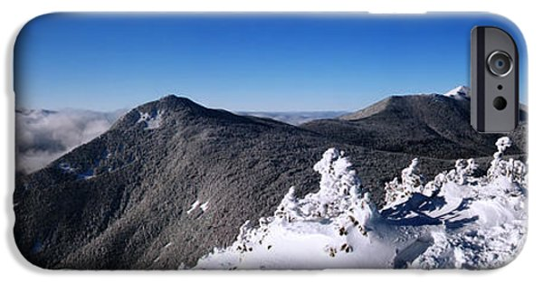 New England Snow Scene iPhone Cases - An Undercast Day on Mount Flume iPhone Case by Christopher Whiton
