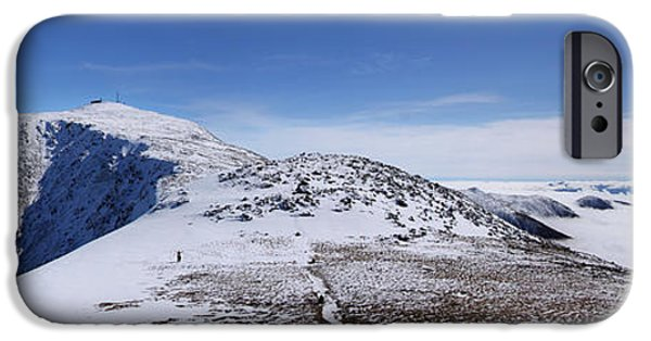 New England Snow Scene iPhone Cases - An Undercast Winter Day on Mount Washington iPhone Case by Christopher Whiton