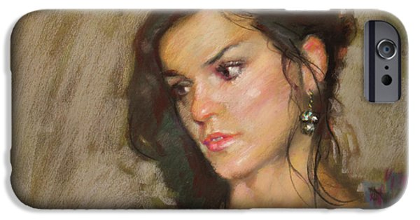 Earrings iPhone Cases - Ana with an Earring iPhone Case by Ylli Haruni