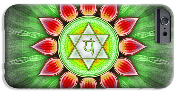 Healing Posters iPhone Cases - Anahata Chakra Series IV iPhone Case by Dirk Czarnota