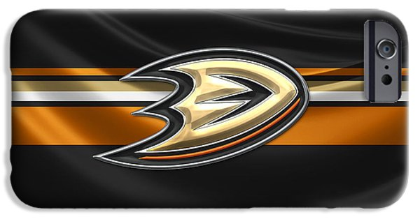 Hockey Art iPhone Cases - Anaheim Ducks - 3D Badge over Silk Flag iPhone Case by Serge Averbukh