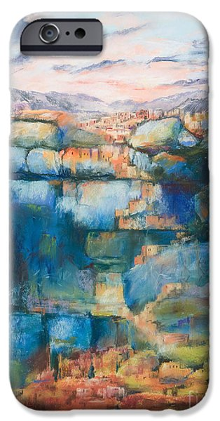 Abstractions Pastels iPhone Cases - Anasazi Mystery iPhone Case by Paula Wild
