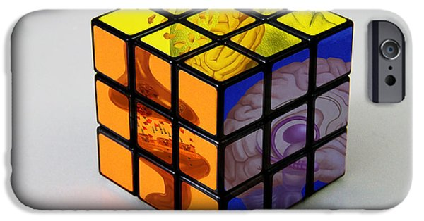 Rubiks Cube iPhone Cases - Anatomical Rubiks Cube iPhone Case by Spencer Sutton