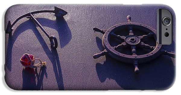 Wooden Ship iPhone Cases - Anchor At Low Tide iPhone Case by Garry Gay