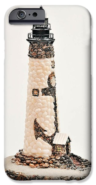 Beach Sculptures iPhone Cases - Anchor Lighthouse iPhone Case by Seaside Artistry