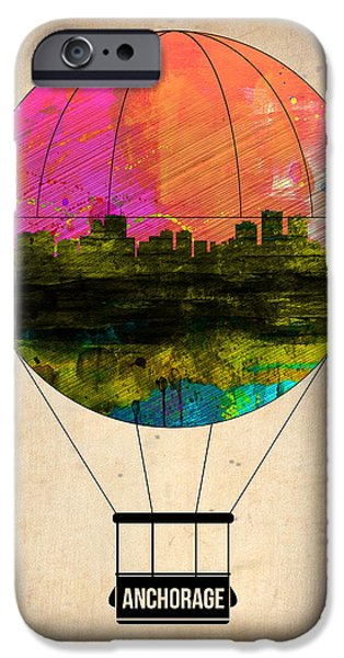 Town iPhone Cases - Anchorage Air Balloon  iPhone Case by Naxart Studio