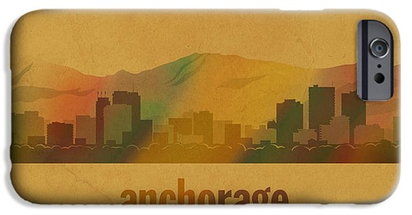 Alaska Mixed Media iPhone Cases - Anchorage Alaska City Skyline Watercolor On Parchment iPhone Case by Design Turnpike