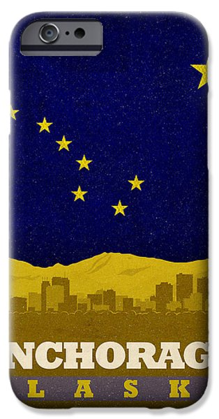 Alaska Mixed Media iPhone Cases - Anchorage City Skyline State Flag Of Alaska Art Poster Series 006 iPhone Case by Design Turnpike