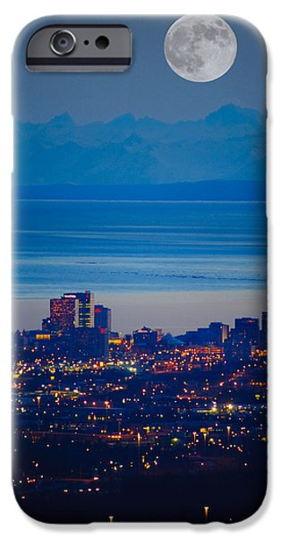Moonscape iPhone Cases - Anchorage Skyline At Sunset With The iPhone Case by Michael Jones