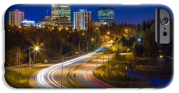 Night Lamp iPhone Cases - Anchorage Skyline iPhone Case by Inge Johnsson